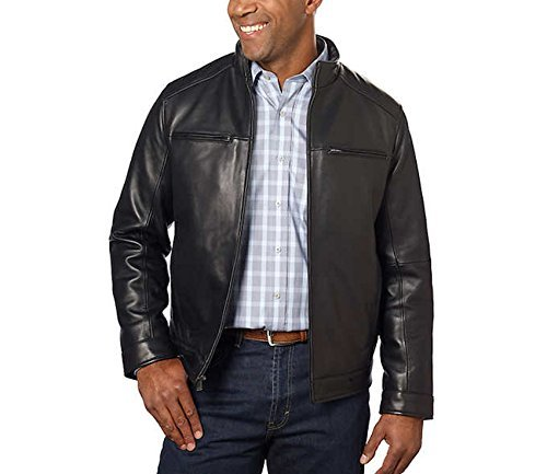 Boston Harbour Men's Leather New Zealand Classic Jacket, Black, M (Leather Harbour)
