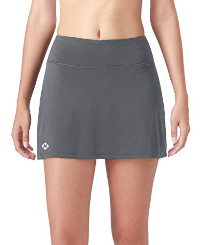 Naviskin Women's Active Athletic Skort Lightweight Skirt with Pockets Inner Shorts Perfect for Running Golf Tennis Workout Casual Use Grey Size S