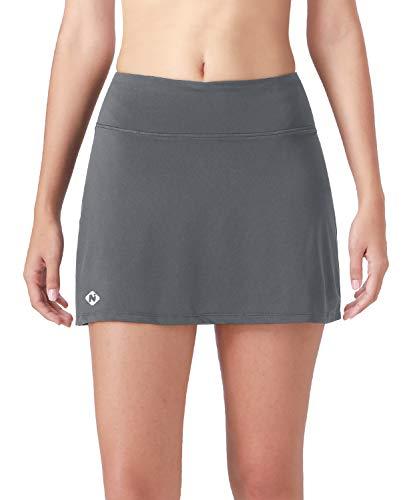 Mini Skirt Skort Shorts - Naviskin Women's Active Athletic Skort Lightweight Skirt with Pockets Inner Shorts Perfect for Running Golf Tennis Workout Casual Use Grey Size S