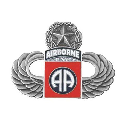 Silver Master Paratrooper Wings with 82nd Airborne Division Lapel Pin