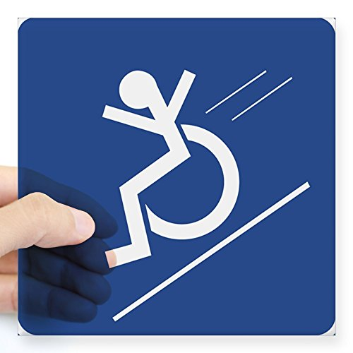CafePress - Wheelchair WHEE! Rectangle Sticker - Square Bumper Sticker Car Decal, 3