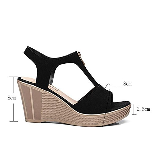 L@YC Girls Women Summer Sandals Waterproof Platform Leather High Heeled Fish Mouth Large Slope With 2017 Shoes, black, 41