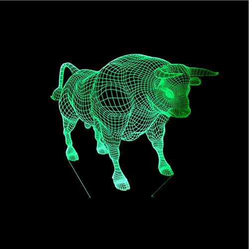 2125 Usb - New Bull 3D Lamp Led 7 Color Change Remote Control Light Acrylic Stereo Vision Led Night Light Powerbank Kids Lamp
