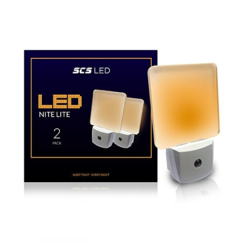 SCS Lighting Sleep Mode 2 Night Lite (2-Pack) Sleep Mode Nite Lite with No Blue Light. Perfect for Nursery, Bathroom, Hallway. Auto On/Off Amber Color, Promotes Natural Melatonin Release. (2 (Lite Night Light)