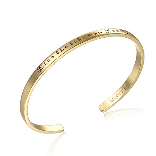 Solocute Gold Bangle Bracelet Engraved Live The Life You Love Inspirational Jewelry, Womens Cuff Bracelets