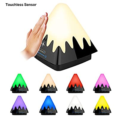 Bedside Table Lamp - Leezon LED Desk Lamps Dimmable Atmosphere Night Light with Eye Protection - Touchless Motion Sensor Changing Eight Color