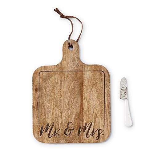 Mud Pie 47500039 Mrs Wedding Wood Serving Board Set, One Size, Brown