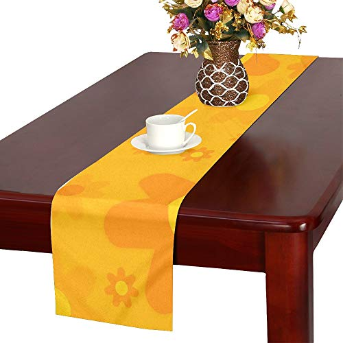 QYUESHANG Flower Power Woodstock Flowers Ornament Decoration Table Runner, Kitchen Dining Table Runner 16 X 72 Inch for Dinner Parties, Events, Decor]()