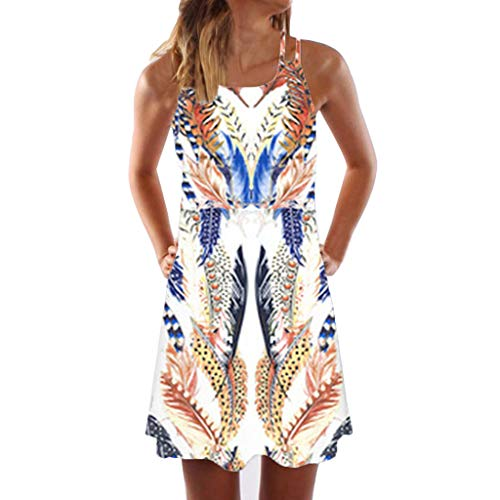 WEISUN Vintage Dress Women Boho Sleeveless Beach Dress Summer Printed Short Mini Dress Coffee