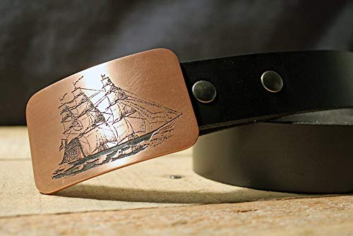 (Clipper Ship PIRATE Etched Metal Belt Buckle )
