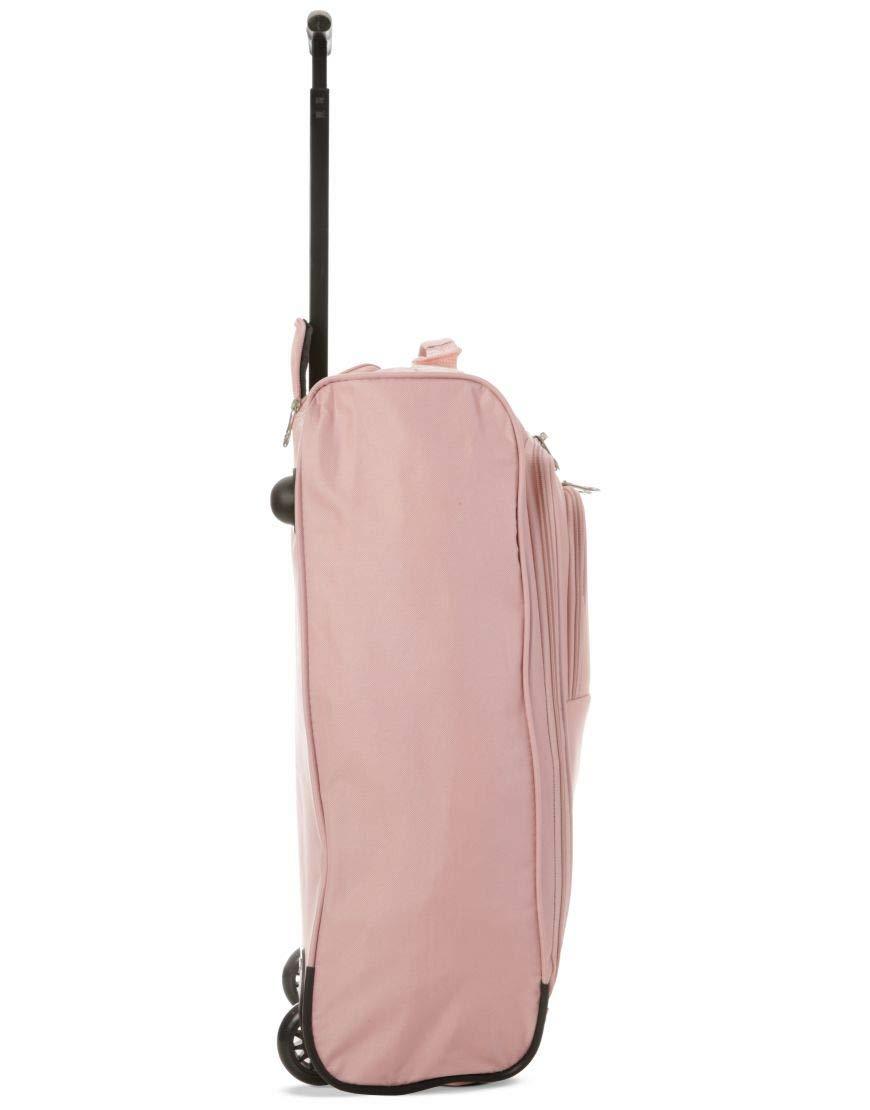 Set di 2 21// 55cm 5 Cities cabina Approvato mano bagaglio leggero sacchetti del carrello per Ryanair//Easyjet Arancia + Oro Rosa