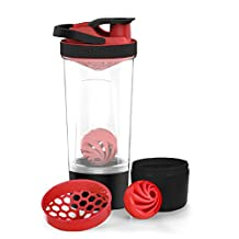 AVOIN colorlife 24 Ounce Protein Shaker Bottle with Mixball and 7 Ounce Storage Jar - BPA Free