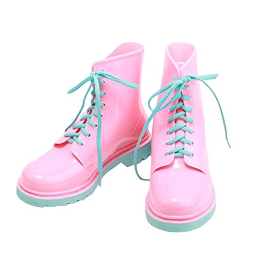 Women Ankle Dear Colors Lace Pink Boots Rain Time Candy Up 5766PFW