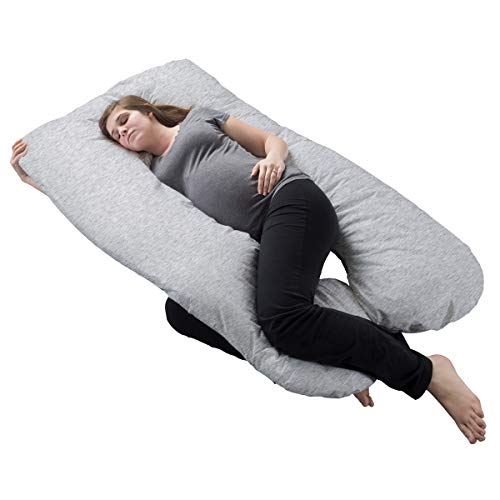 Lavish Home Pregnancy Pillow- Full Body Maternity Pillow with Removable Cover and Contoured U-Shape Design for Back/Body Support Collection (Gray)