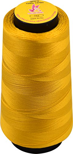Color Bird 50WT-Bright Orange Extra-Long Staple Cotton Sewing Thread,Serger Spool Thread Set -1500Yards/1370m-for Quilting, Single Needle,Machine Embroidery,Overlock, Merrow (Color No,:742)  -