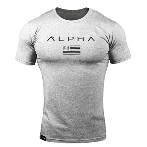 Dressin Men's Letter Print T Shirts,Men Casual Fashion Pattern Tops Crew Short Sleeve Slim Tees Blouse Gray