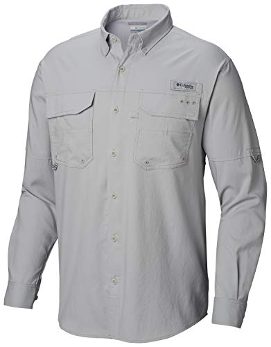 Columbia Men's Blood & Guts iii Long Sleeve Woven Shirt, Cool Grey, Large