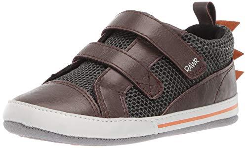 Ro + Me by Robeez Boys' Dinosaur Sneaker Crib Shoe, Brown, 6-12 Months