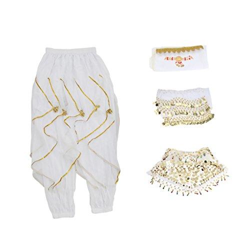 Fityle Indian Belly Dance Dancer Dress Head Chain Head Veil Hip Scarf Dance Bra Harem Pants - White, as described
