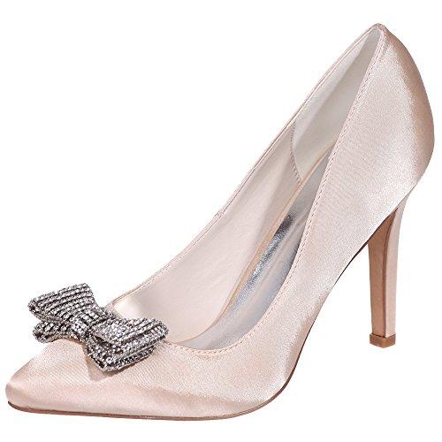 Loslandifen Donna Pionted Toe Strass Bow High Heel Platform Pumps Scarpe Da Sposa Champagne