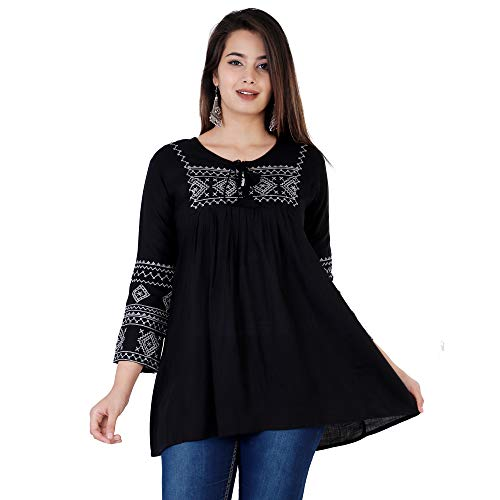 VIYANA COLLECTION Women's Stylish Fashionable Rayon Embroidery top Size Casual || Party || Beach || Formal || Meeting || Office wear || Party || Evening || College