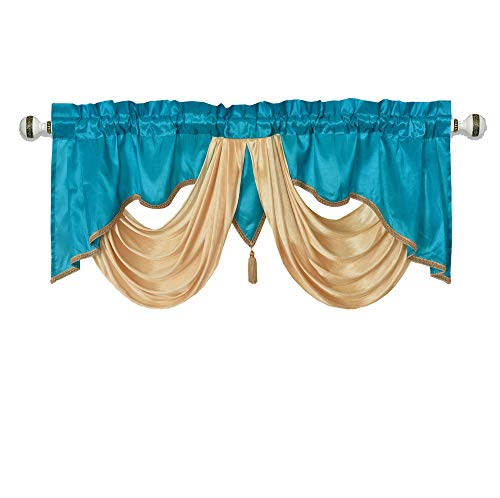 Valarie Fancy Window Valance. 54 x 18 inches. Taffeta Fabric with Soft Satin Swag. Add Some Royal luxruy Accent to Your Home. (Turquoise) (Windows Turquoise For Valances)