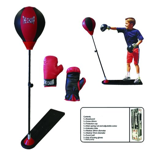 The Champ Kids Boxing Punch Stand Set with Punching Ball Bounce Back Punching Ball, Adjustable Stand, Pump, & Boxing Gloves for Boys and GirlsAges 3+