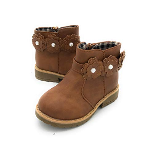 (Blue Berry EASY21 Girls Fashion Cute Toddler/Infant Winter Snow Boots 01TAN,7)