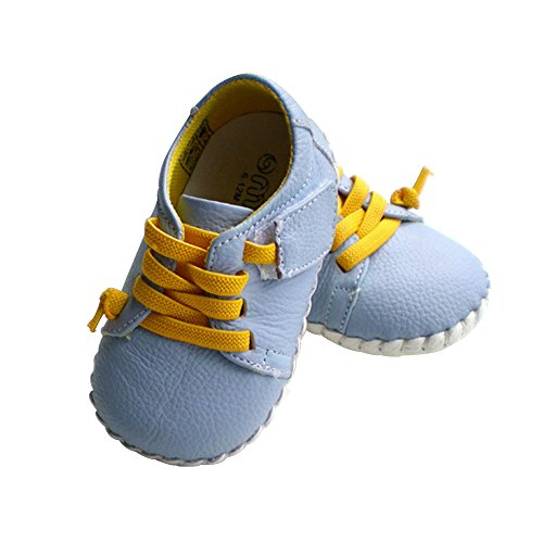Kuner Infant Baby Boys Girls Genuine Leather Soft Bottom Non-slip First Walkers Shoes (12.5cm(12-18months), Light Blue)