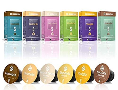 CDM product Gourmesso Flavor Bundle - 60 Coffee Capsules Compatible with Nespresso Machines - 100% Fair Trade | Includes Vanilla, Caramel, Chocolate, Hazelnut, Coconut and Almond Flavored Espresso Pods big image
