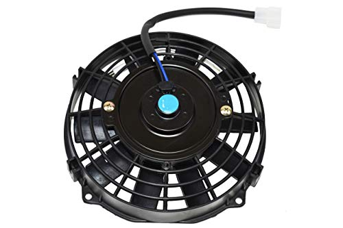 A-Team Performance 120021 Electric Radiator Cooling Fan Condenser 8inch High Performance 1700 CFM 12V Reversible 10 Inches Flat Blades Black ()