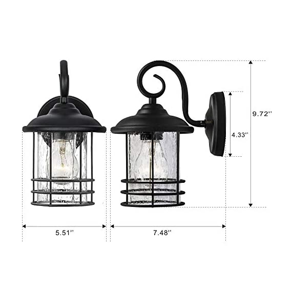 Emliviar 1-Light Outdoor Wall Lantern 2 Pack, Exterior Wall Lamp Light in Black Finish with Clear Seeded Glass -Twin Pack, OS-1803CW1 - Weather resistant and suitable for wet locations, these two pack outdoor wall lights features sturdy metal construction and seeded glass shade Easy installation with open bottom to allow for easy bulb replacement. Includes all mounting hardware Hard wired. Requires 1x E26 base bulb(Max.100W) per light. Bulb NOT included - patio, outdoor-lights, outdoor-decor - 41vjFQU2cUL. SS570  -