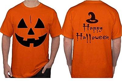 Halloween Costume for Men. Jack O' Lantern Pumpkin T-Shirt. Witch Hat Scary Spooky Funny Tee Shirts. Black/Orange.