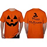Halloween Costume for Men. Jack O' Lantern Pumpkin T-Shirt. Witch Hat Scary Spooky Funny Tee Shirts. (Large, Orange)