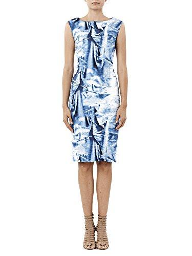 (Nicole Miller Women's Faux Metal Midi Dress, Blue/Multi, 10)