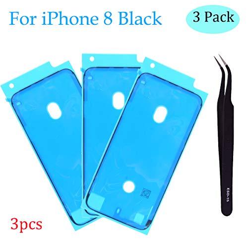 Ogodeal Screen Adhesive Strips for iPhone 8 Pre-Cut Waterproof Seals Adhesive 3 Pack (Black)