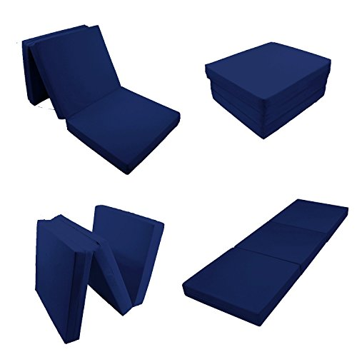 4 Inches Solid Dark Blue Trifold Bed White Foam