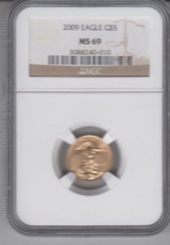 2008 American Gold Eagle $5 1/10 OZ. .999 Fine Gold Coin Certified $5 MS69 ()