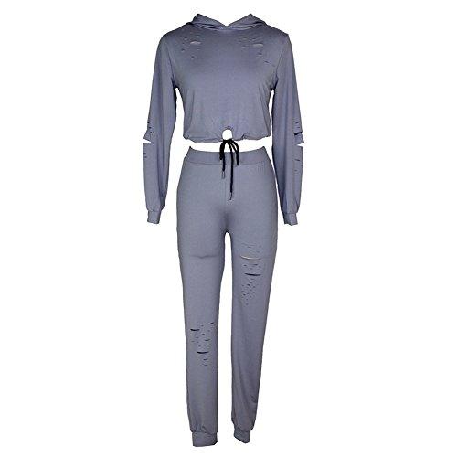 Firmeza Lady Women 2 PCS Broken Holes Crop Top and Sweat Pant Set Sport Tracksuit Outfit