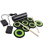 deAO Opvouwbare Elektronische Drumkit Muzikale Entertainmentset met Ingebouwde Luidsprekers, Voetpedalen & Drumstokken - Geweldig voor Kinderen