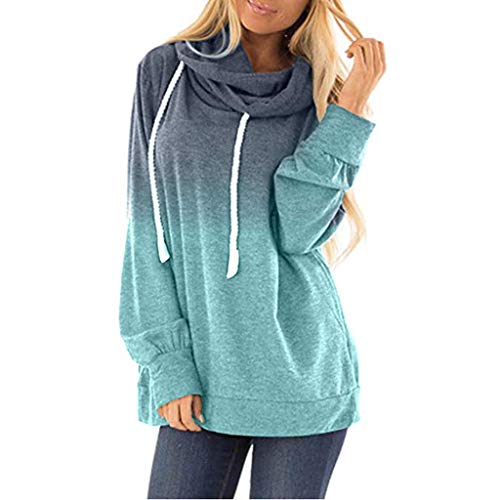 NANTE Top Loose Women's Blouse Hooded Tie Dyes Print Sweatshirt Baggy Drawstring Pullover Hoodies Tops Womens Clothes Costume (Blue, ()