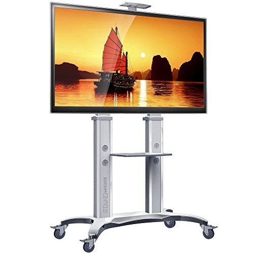 North Bayou - Soporte de Aluminio para televisor con Ruedas de 32 a 65 Pulgadas (Pantalla LCD LED OLED Plasma), White 55-80''...