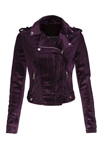 ns Purple Velvet Moto Biker Jacket – Size Small ()