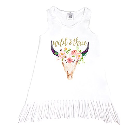 Olive Loves Apple 3rd Birthday Outfit for Girls Wild & Three Bull Skull Perfect for Toddler Girls