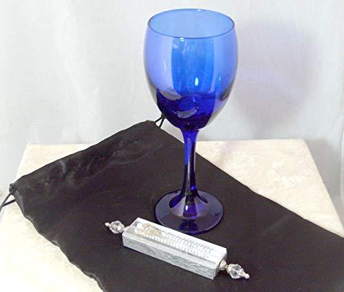Glass Wedding Bag - Jewish Wedding Glass Kit - Wine Glass, Satin Bag, Shards Mezuzah Case - Deep Sapphire