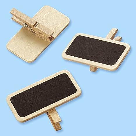 Mini de madera Pizarra con Pinza 4 x 2 x 3 cm. BTL a 6 St ...
