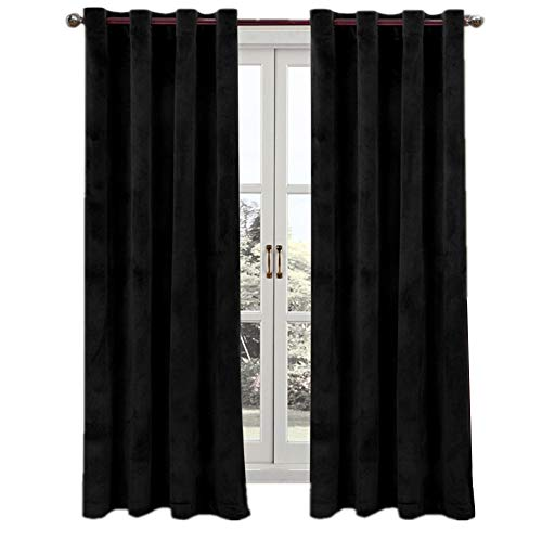 Home Grommet Velvet Window Panel (ComforHome Living Room Luxury Velvet in Solid Color Window Curtain Grommets Drapes (1 Panel) Super Soft (52 inch by 95 inch(2 Panels), Pure Black)