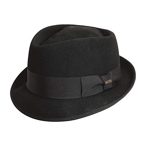 Dorfman Pacific Men's Wool Felt Diamond Crown Fedora, Black, Large ()