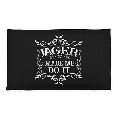 Hand Wooden Customizable Decorative Throw Pillow Covers Jager Made Me Do It Tee Funny Alcohol Drinker Gift Cases for Sofa Bedroom Car Rectangular Case Only 20 x 12 inch, 50 x 30 cm