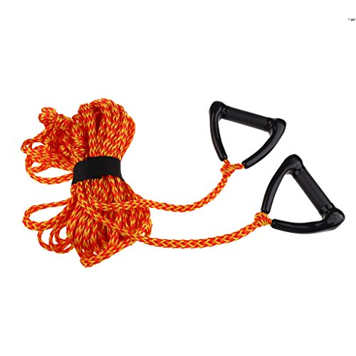 Airhead Double Handle Ski Rope - MonkeyJack Waterski Knee Board Double Handle Jetski Tow Rope 1 Section 75' with Rope Keeper Wakeboarding Lines Equipment - Orange, 23m